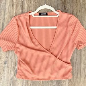 Pink semi striped cropped top with V neckline